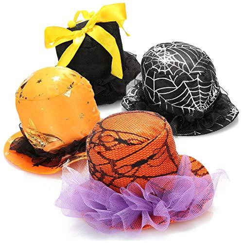 com-four® 4x mini sombrero para Halloween - sombrero de fiesta con clip para carnaval, Nochevieja, fiesta temática - tocados en diferentes diseños [la selección varía]