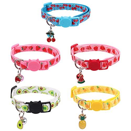 5 Stück Katzenhalsband mit Glöckchen verstellbare Katzenhalsbänder 18-30cm Halsband Katze sicherheitsverschluss Schnellverschluss Haustierhalsband Sommerfruchtart für Kätzchen Welpen kleine Hunde