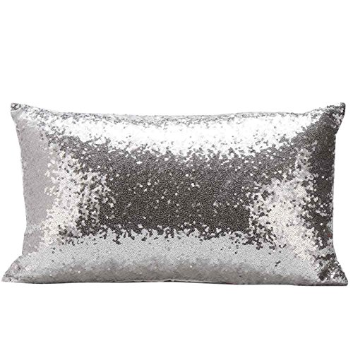 NEYOANN Funda de almohada rectangular, color sólido, con lentejuelas, color liso, para decoración del hogar, festival, coche, sofá (plata)