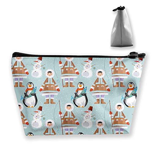 Bolsa de Almacenamiento Trapezoidal Bolsa Buggy Bolsa de Viaje y hogar - Muñeco de Nieve, un patrón de pingüino Bolsas de cosméticos Impresas Bolsa de artículos de tocador Maquillaje Recibir - Nuevo