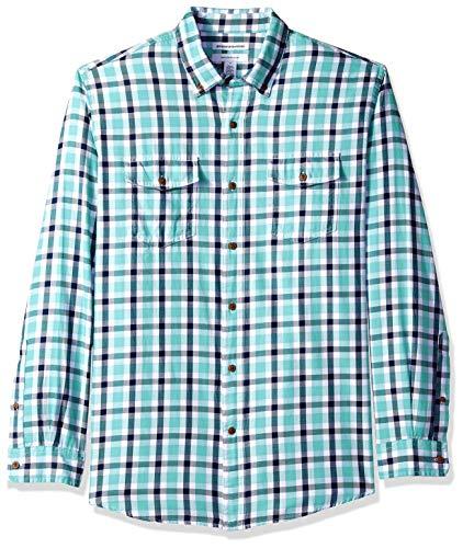 Amazon Essentials AE1811774, Camicia in twill a manica lunga con due taschini, Uomo, Verde (Green/Navy Plaid Gnp), XS