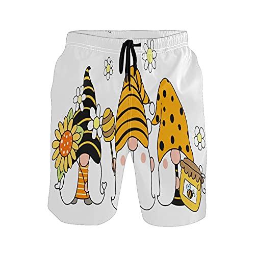 Pantalones de playa para hombre con diseño de abejas, de primavera, de dibujos animados, pantalones cortos de playa, Un solo color, Medium