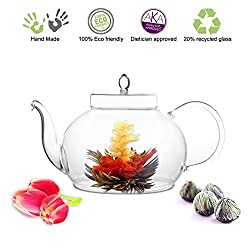 Blooming Glass Teapot with Flowering Tea