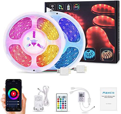 Tira de LED RGB 10m SMD 5050,Wifi Tira LED Regulable Control de Voz y APP,Tira LED Sincroniza con la Música,24 Botones Control Remoto,Impermeable IP65, Alexa luces para Decoración del hogar y Fiestas