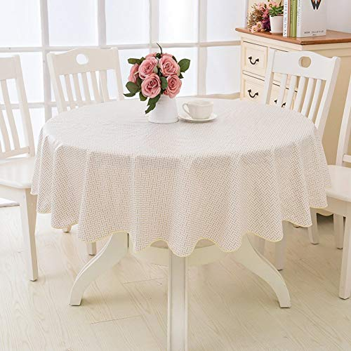 BANNAB PVC Waterproof Tablecloth Round,Oil-free Stain resistant Table cover cloth Dining coffee table covering protector-R Diameter 137cm(54inch)