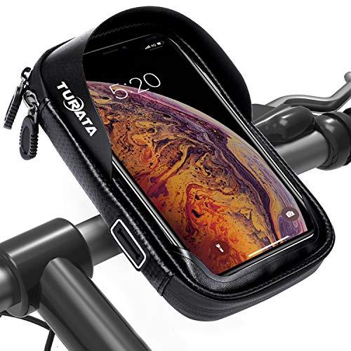 """TURATA Fahrrad Lenkertasche Wasserdicht Rahmentaschen Multifunktional Motorrad Handyhalterung für 6\"""" Handy, Personalausweis, Bankkarte, Kopfhörer -Schwarz"""