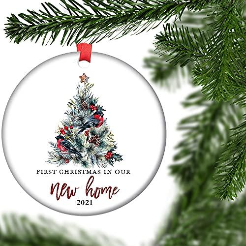 JCA First Christmas as Mr & Mrs Ornament 2020 1st Year Married Newlyweds 3' Flat Circle Porcelain Ceramic Ornament w Glossy Glaze, Ribbon