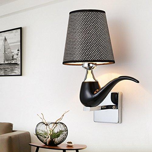 GKJ Led Pipe lampe de mur, Creative couloir restaurant étude mur lampe chambre à coucher lumière de la lumière seule tête E27, 20 * 30cm blanc lumière (Couleur : Noir)