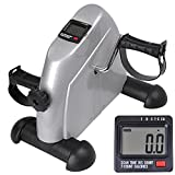 AW Seat Pedal Exerciser Under Desk Elliptical Pedal Machine Mini Exercise Bike Home Office Use LCD Monitor Silver