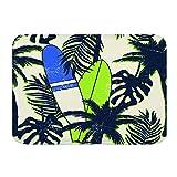 Wdoci Alfombra de baño Alfombras de Piso Alfombra Antideslizante Tropical Summer Seamless Pattern(80cm x 60cm)