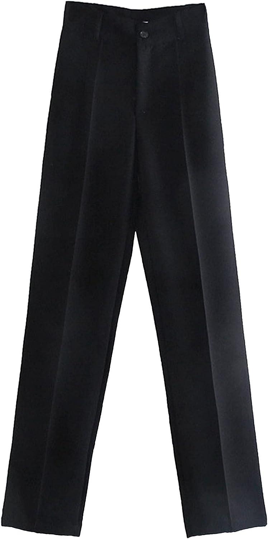 Haitryli Women's Regular Fit Front Button Straight Leg Causal Trouser Dress Pants