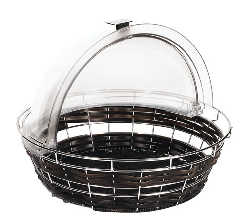 APS Paderno World Cuisine Black Round Polyrattan Bread Basket, Cover Not Included