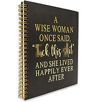 A Wise Woman Once Said おもしろ インスピレーショナル ハードカバー スパイラルノート 日記帳 金箔の言葉 ゴールドワイヤーOスパイラル ノート 日記帳ギフト 女性 友人 姉妹 娘