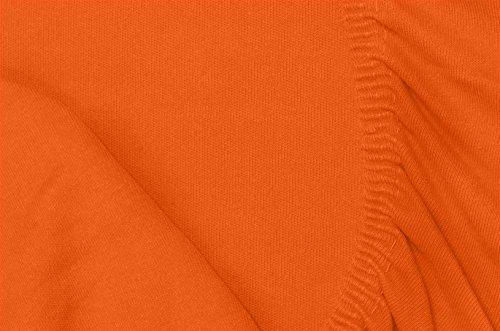 Double Jersey – Spannbettlaken 100% Baumwolle Jersey-Stretch bettlaken, Ultra Weich und Bügelfrei mit bis zu 30cm Stehghöhe, 160x200x30 Orange - 7