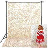 VEOEOV Professional Photography Backdrop, 5X7ft Ivory Bokeh Vintage Photo Backdrops, Abstract Golden Dots(Not Glitter and Sequins )Fabric Backdrop for Photography, Newborn, Baby shower(Backdrop Only))