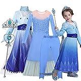 O³ Elsa Princesa Vestido - Disfraz de Princesa Elsa - 110-150 cm - 5 Tamaños - con Varita Magica y Corona (Elsa 110)