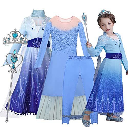 O³ Elsa Princesa Vestido - Disfraz de Princesa Elsa - 110-150 cm - 5 Tamaños - con Varita Magica y Corona (Elsa 130)