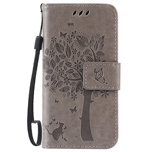Nancen Compatible with Handyhülle Galaxy S4 Mini I9190 i9195 Flip Schutzhülle Zubehör Lederhülle mit Silikon Back Cover PU Leder Handytasche