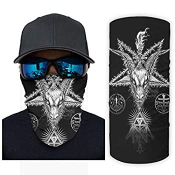 Traditional Tribal Goat Magic Star Eye of Providence Tattoo Print Bandana Face Mask Sun Protection Face Wrap Scarf White OneSize