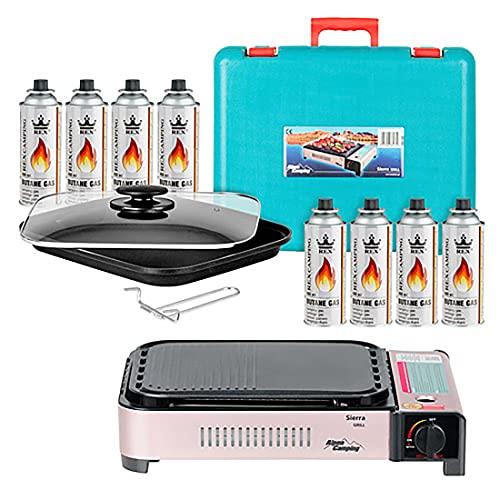 Mianova Campinggrill Outdoor Gas BBQ Camping Gaskartuschen Set Grillplatte Campingkocher Gasgrill Barbecue Tischgrill Grillplatte Grill Koffer 8 Gasflaschen