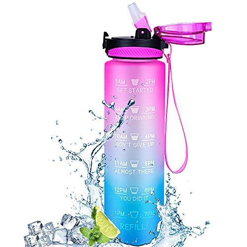 Jollywoods Bottiglia Acqua Sportiva Portatile (1 Litro), Borraccia con Cannuccia, Prova di Perdite Pendenza, Senza BPA Tritan, Borracce Bici, Indicatore di Tempo, per Scuola, Sport (Rosa/Blu Sfumato)