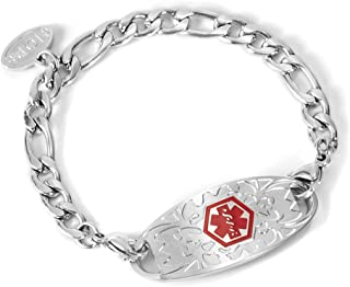 Stainless Steel Figaro Chain Medical Alert ID Bracelet for Girls 6 Inches,Free Engraving