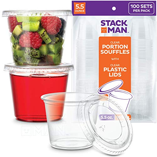 [100 Sets - 5.5 oz.] Plastic Cups with Lids, Clear Portion Cups, Disposable Snack Cups, Yogurt Cups, Parfait Cups, Pudding Cups, Souffle Cups, Dessert Cups, Disposable Containers with Lids 5.5oz.
