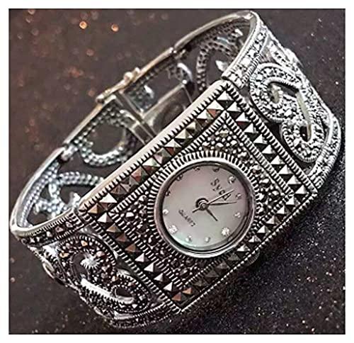 CHXISHOP Reloj de Reloj de Plata de la Plaza 925 de Las Mujeres Reloj de Movimiento de Cuarzo Diseño Cuadrado Inlaid Diamond Relojes Black gótico Retro Pulsera Reloj White-17cm