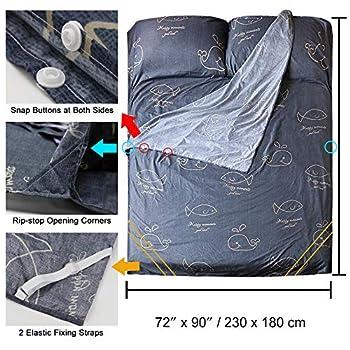 SueH Design Doublure de Sac de Couchage Double en Poly Coton 230 x 180 cm   Sac de Couchage d'Été Léger pour Adultes Utilisé dans Les Hôtels, Auberges, Motel et Le Plein Air avec Fermeture Éclair