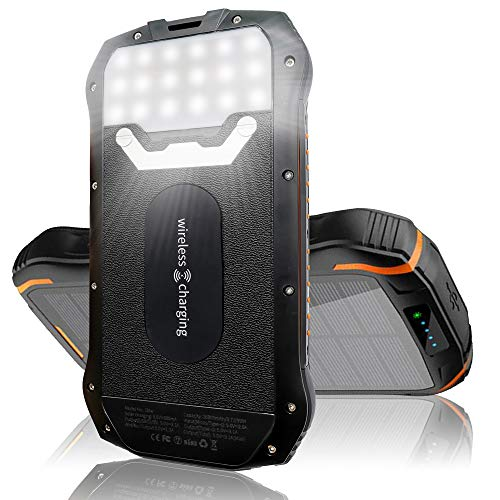 Patriot Power Cell Solar Phone Charger - Power Bank 26,800 mAh - The Wireless Charger - Qi External Fast Phone Charging Battery Pack - for Camping and Outdoor Activities with Waterproof and Dustproof