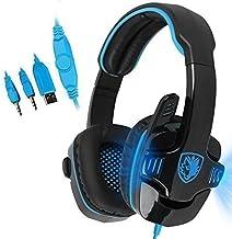 Sades–Auriculares PC stereo Gaming Headset Auriculares Diadema con control de volumen Micrófono luces LED de reducción d...