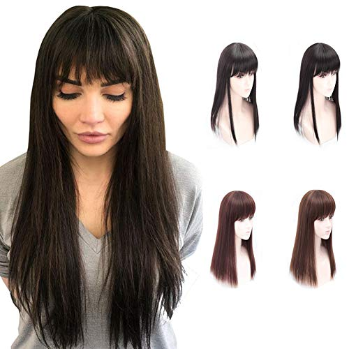 Frange droite de 50,8 cm à clipser pour femme avec perte de cheveux Marron foncé