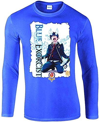 Burai Outlet Blue Exorcist Anime Unisex Long Sleeve Shirt,Blue,Small