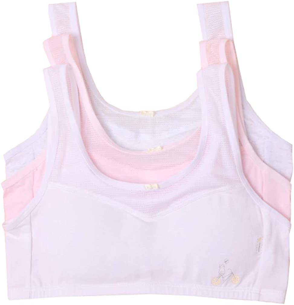 Age 9-14 Girls Pointelle Training Bra Pastel Color Ventilate Bralette with Removable Pads