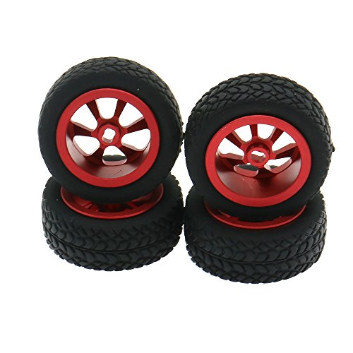 RCAWD Rim Rally Wheel aleación de Aluminio para RC Hobby Model Car 1/28 Wltoys K969 K989 P929 Drift Rally Bigfoot Kyosho Mini-Z Mini-Q 4Pcs(Rojo)
