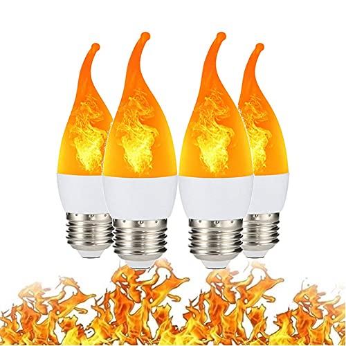 JAKROO E12 E14 E27 Bombilla Llama, 300 lúmenes Lámpara Decorativa de Llama Blanca cálida de 1400K, Lámpara de Llama Parpadeante LED de 3 Modos, para Hotel, Bar, decoración de Vacaciones, 4 Piezas