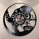 mbbvv Gato Pesca en el Acuario Disco de Vinilo Reloj de Pared Gato Negro Pesca Catcher Reloj de Pared decoración Reloj de Acuario
