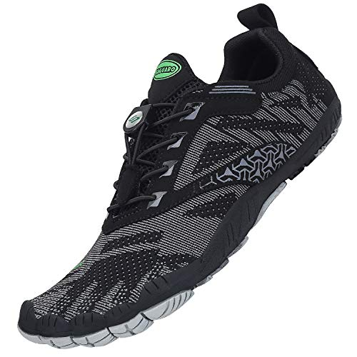 SAGUARO Zehenschuhe Unisex Barfußschuhe Atmungsaktive Traillaufschuhe rutschfeste Laufschuhe,055 Schwarz,36