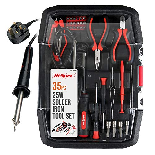 Hi-Spec 35 Piece Electronics & Soldering Repair Tool Set Kit. For PCBs, Electrical Circuits, Computers, Gadgets & Drones. Complete in a Tool Tray Case