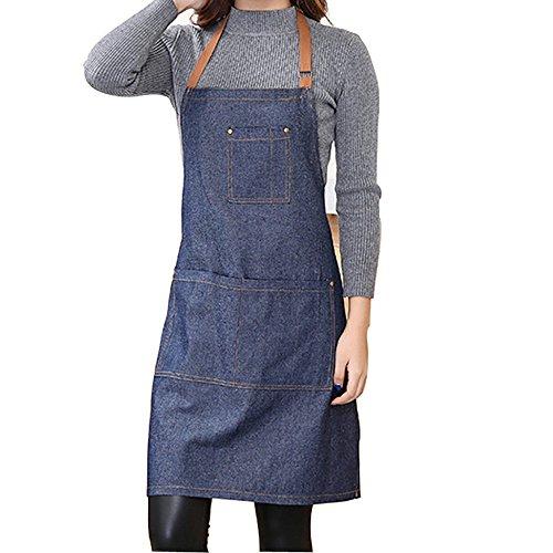 YAKEFJ Denim Schürze mit Tasche einstellbar Denim Jean Küchenschürze mit 3 Taschen für Frauen Männer