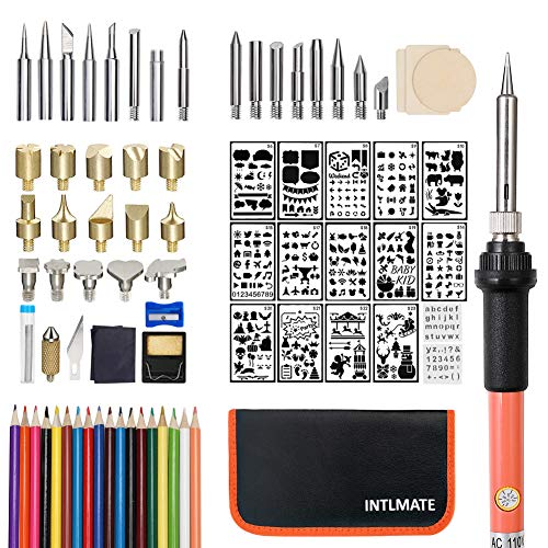 80PCS Wood Burning Kit,Professional Pyrography Set with Adjustable Temperature Pyrography Pen,Woodburning Tips +16 Stencils +18 Pencils +3 Slices+Tin Wire +Case for Wood Carving/Embossing/Soldering