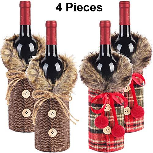 Weinflaschen-Überzug für Weihnachten, Weinflaschen-Kleid mit Kunstfellkragen und Knopfleiste 4 Pieces
