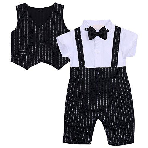 MSemis Baby Costume Complet de Mariage de Bébé Garçon Barboteuse Chic Moderne Combinaison à Manche Courte Rayé et Gilet Gentleman 3-18 Mois Blanc&Noir 6-9 Mois