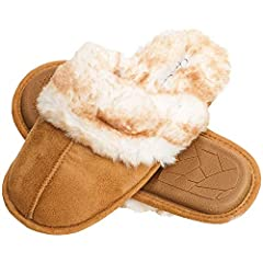 MEMORY FOAM: thick memory foam cushion add support and comfort for all day wear ANTI SLIP SOLE: The textured bottom grips to the floor preventing you from sliding or slipping. STYLE: warm and fluffy clog style slippers for girls and women SIZING: Ava...