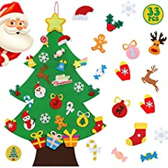 🎄 QUANTITY: 1 piece DIY felt Christmas tree + 33 pieces of ornaments, including: snowman, Santa, Christmas hat, Christmas candy and bells etc. For kids, it's a great stocking filler. 🎄 EASY TO USE: Use the pads to arrange the felt badges any way you ...