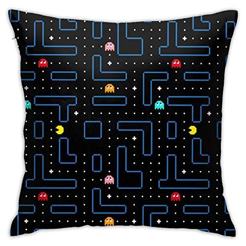 Pac Man - Funda de almohada con diseño de arcade para sofá, diseño de felpa, decoración del hogar, cama de 45,7 x 45,7 cm