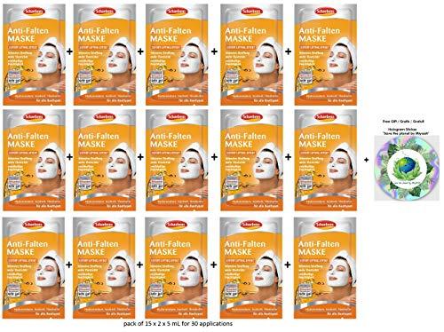 Schaebens Anti-Falten Gesichtsmaske - mit Jojobaöl, Sheabutter, Hyaluronsäure und Urea - (15 x 2 Einheiten. 5 mL je Einheit - Für 30 Anwendungen) - Für alle Hauttypen