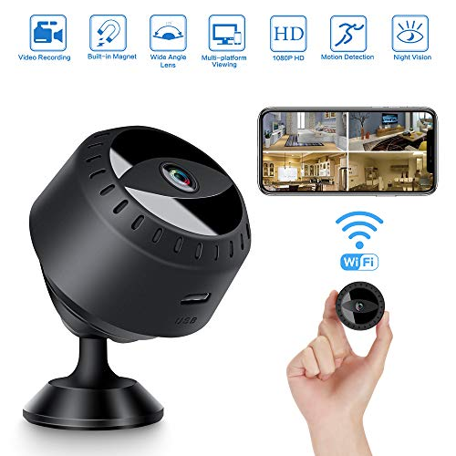 LONOVE Mini Spy Camera, Wireless WiFi Hidden Camera, 1080P Portable Home Small Camera with Night Vision and Motion Detection, Outdoor Indoor Security Nanny Camera with Monitor Phone App