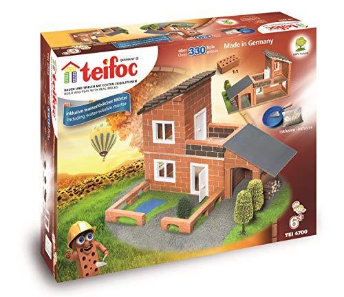 Teifoc TEI 4700 Steinbaukästen 4700-Villa, Mehrfarbig, Villa mit Garage