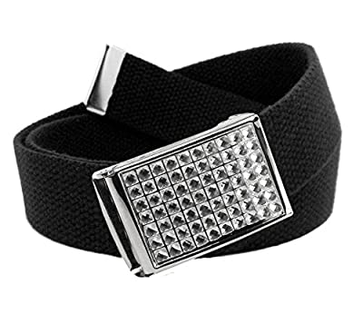 Girl's Easy Snap Crystal Buckle with Adjustable Canvas Belt Small Black